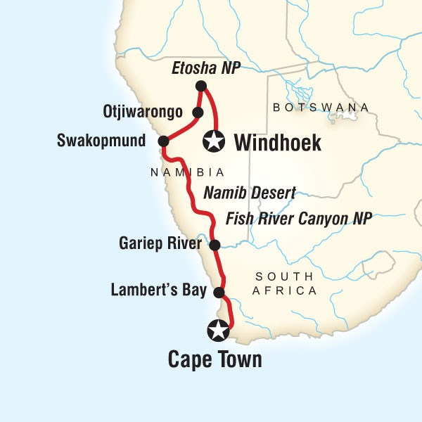 This might be my next trip.. Route map for Cape & Dunes Discoverer (DNCD): Africans Adventure, Desert, Route Maps, Farms, South Africa, Capes Town, Footprint, Hotels, Namibia Adventure