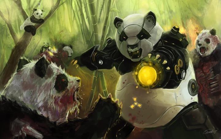 Deviantart Robot Animals: Robot Panda Vs Zombie Panda!