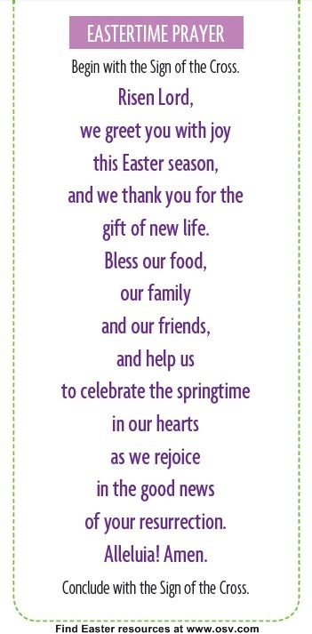 Use this prayer at dinner throughout the Easter season!