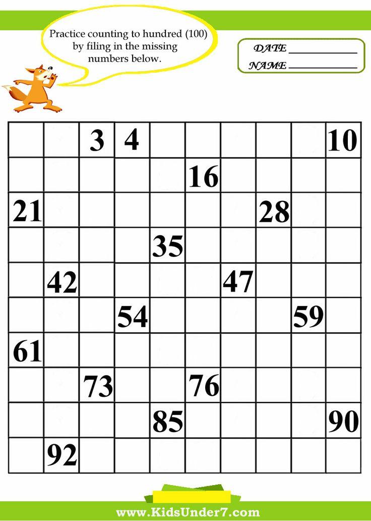 100 Missing Numbers Chart | Preschool | Pinterest | Number Chart ...