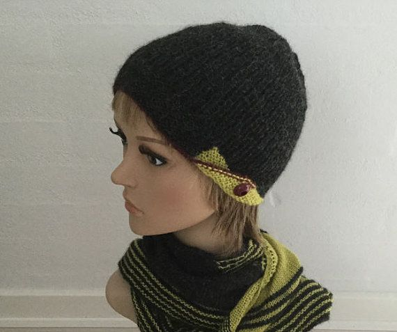 Beanie knitted with soft alpaca in 3 colours