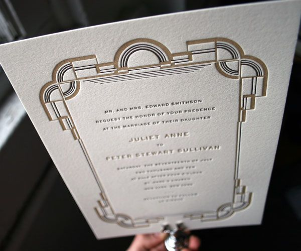 refined and simple, art deco style, a letterpress wedding invitation with timeless vintage feel.