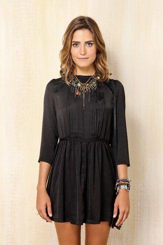 vestido manga longa preto