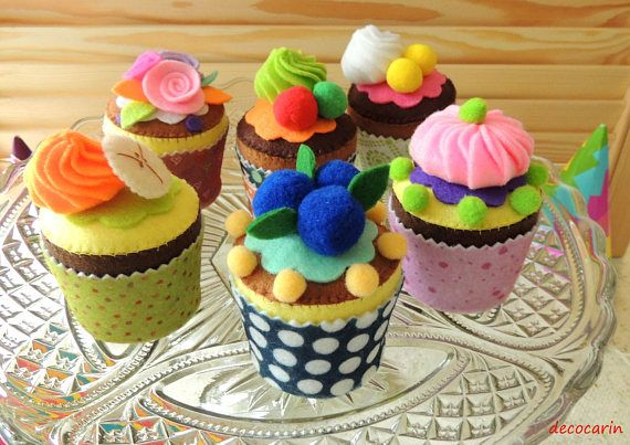 Felt Cake Muffins Cupcake Cake Felt Food Set of 6 Felt