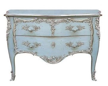 "Blue and silver Louis XV Style Bombe Chest with Two Drawers with Antiqued Light Blue Finish, antiqued silver accents and solid brass trim finished in antiqued silver. Made in France by the renowned French cabinetmaker, Moissonnier; 51"" w. x 25"" d. x 34"" h. Available in custom finishes. $19,012!!! Sold by GablesFurniture.com. Category: Accent Chests and Cabinets."