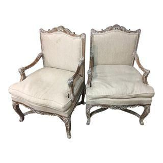 Early 1900's Cerused French Fauteuils - A Pair