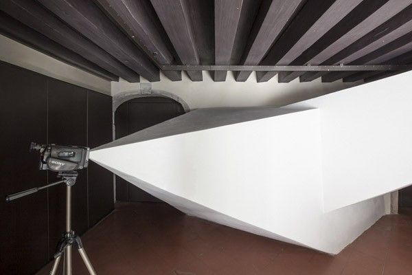 Zhanna Kadyrova, Invisible Forms, 2013, installation: videocamera, tripod, wooden beams, cement, variable dimensions - Ukrainian Pavilion, 55th International Art Exhibition - la Biennale di Venezia 2013.