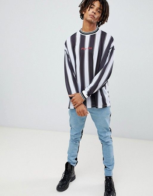 9abe61eb ASOS DESIGN oversized long sleeve t-shirt with vertical stripe and play nice  print