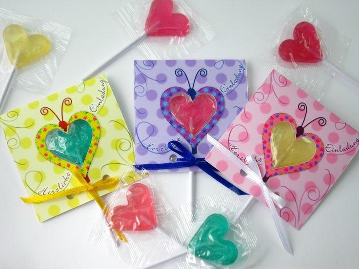 Kindergeburtstag 3 Herz Lolli Einladungen