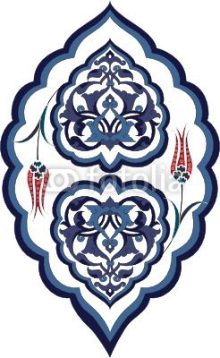 Traditional antique ottoman turkish tile vector design