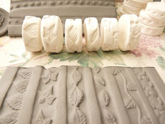 Leaf Vine and Blossom Theme Clay Stamp Roller Set of by claystamps, $26.00