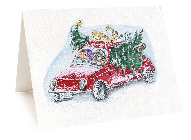 Funny Dog And Cat Christmas Tree Card, Bring Christmas Tree Home Holiday Spirit, Funny Cat Driver Card Winter Season Snowy Christmas Night