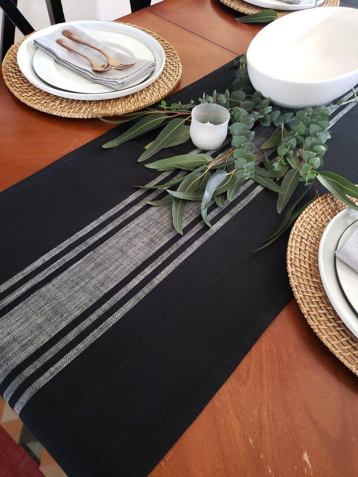 Farmhouse Table Runner Black & White Grain Sack Runner