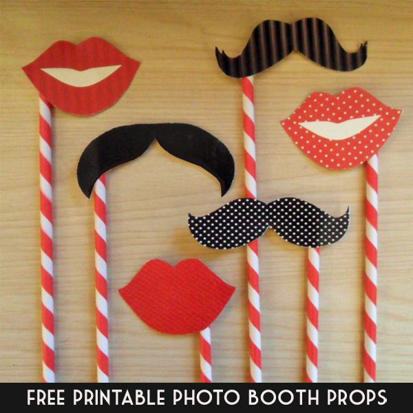 Free printable photo booth props, moustaches and lips by In the Treehouse