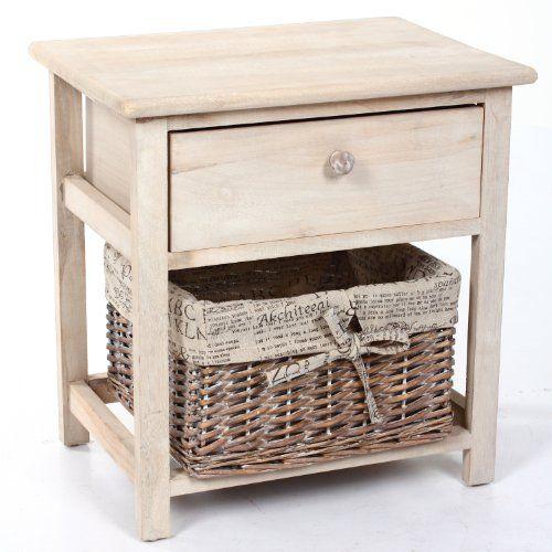 Mesa de noche accesorios para el hogar - http://tienda.casuarios.com/mesa-de-noche-color-beige-de-madera-con-cajonera-y-cestas-con-tira/