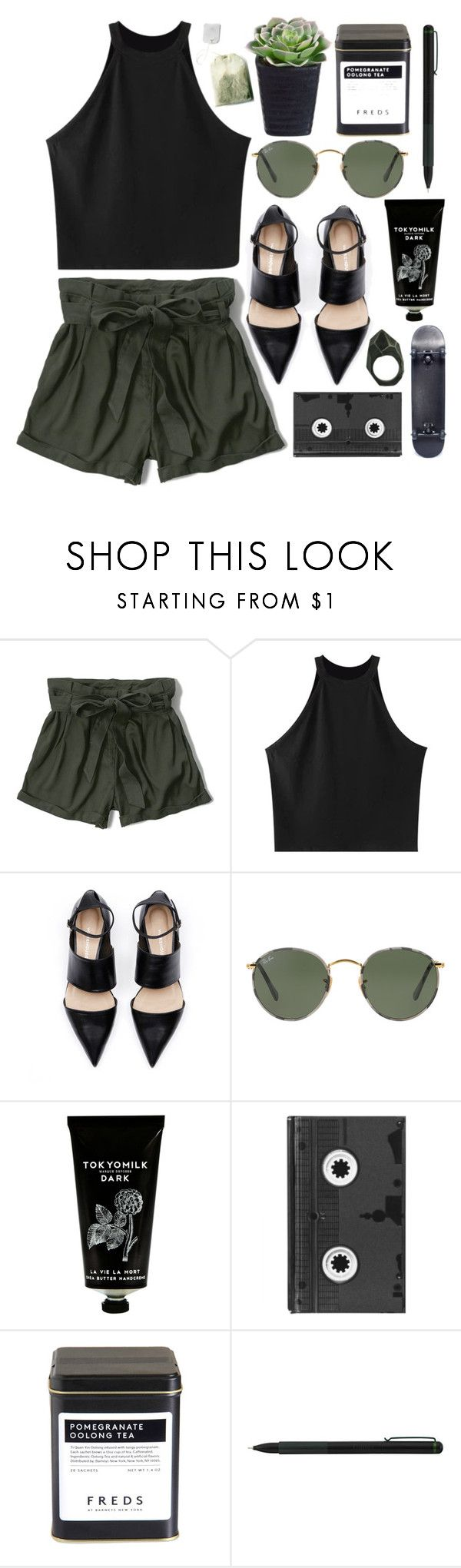 """Black and green things"" by rheeee ❤ liked on Polyvore featuring Abercrombie & Fitch, Chicnova Fashion, Ray-Ban, TokyoMilk, Luckies, FREDS at Barneys New York, IDEA International and Lady Grey"