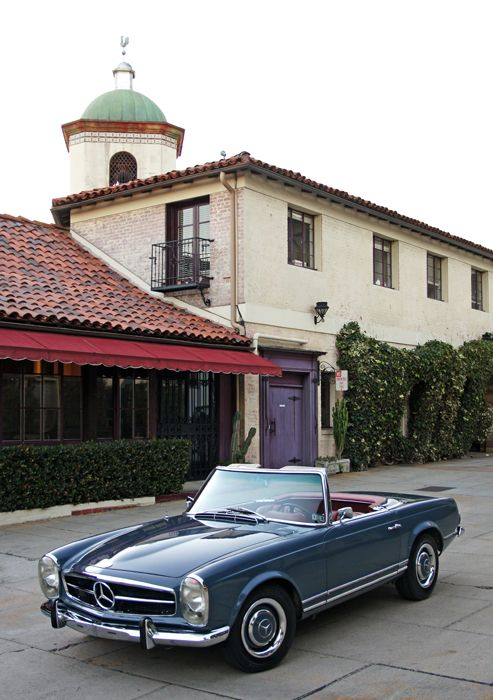European model 1966 Mercedes 230SL finished in timelessly elegant and era-specific Blue Grey (Paint Code DB 162) over a red interior