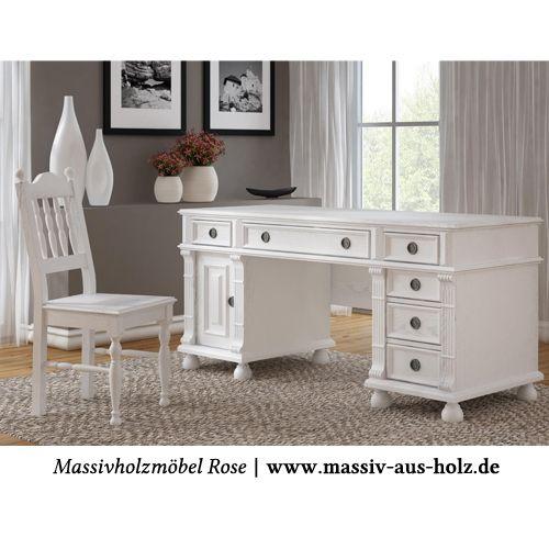 www.massiv-aus-holz.de Der weiße #Schreibtisch zeigt  wie elegant und leicht der #Landhausstil sein kann. #Tisch #Landhaus #Wohnen #shabbychic #computertisch