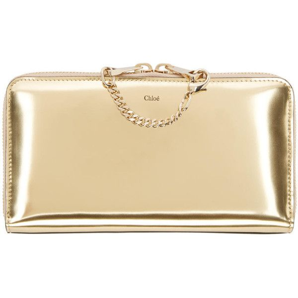 Chloe Gold and Pink Leather Baylee Wallet (1.510 BRL) ❤ liked on Polyvore featuring bags, wallets, continental wallet, real leather wallet, pink zip around wallet, credit card holder wallet and chloe wallet