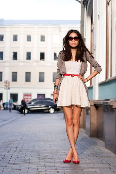 belted little white dress and slouchy cardigan