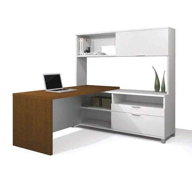 bestar prolinea modern l shape desk w hutch