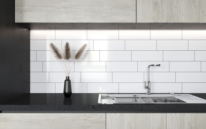 Metro Underground Flat Matt White Wall Tile 300 X 100 In 2020 White Wall Tiles Herringbone Tiles Kitchen Wall Tiles