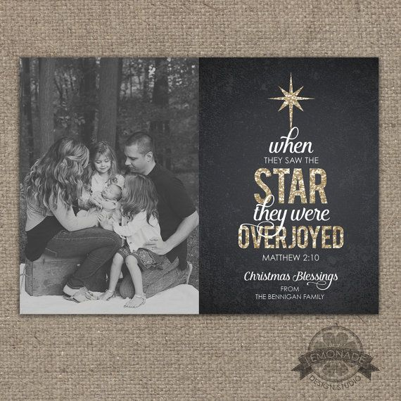 Christian Christmas Cards - Gold Glitter Chalkboard Texture - Matthew 2:10 - When they saw the star they were overjoyed - Religious - Christ-centered - Jesus - Reason for the Season - Printable Photo Xmas Card  by Lemonade Design Studio