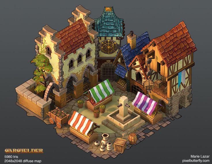 Warwielder Marketplace, Marie Lazar on ArtStation at https://www.artstation.com/artwork/warwielder-marketplace