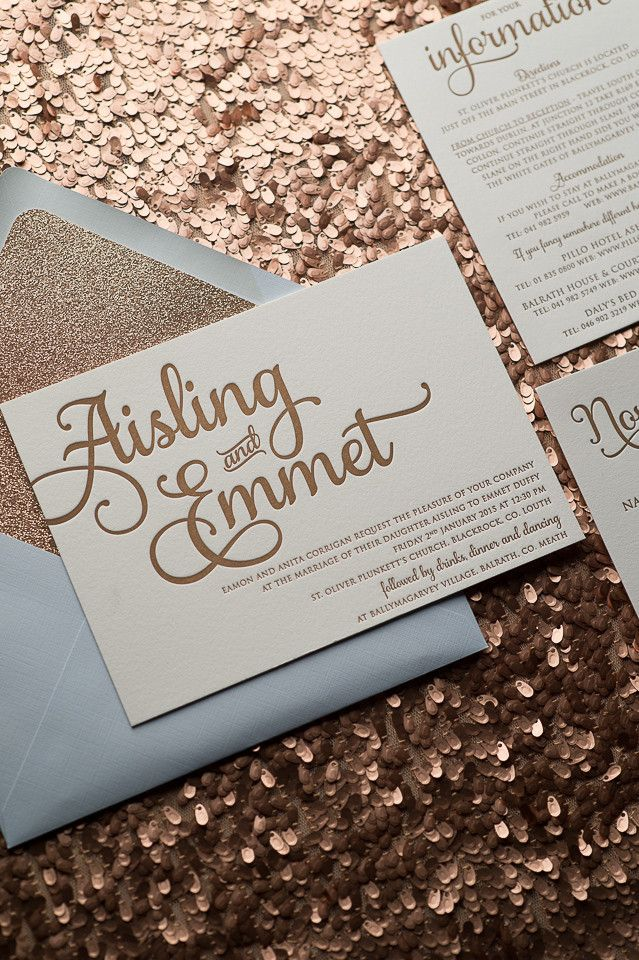 Fabulous Sparkly Light Blue and Gold Glitter Letterpress Wedding Invitations by Just Invite Me