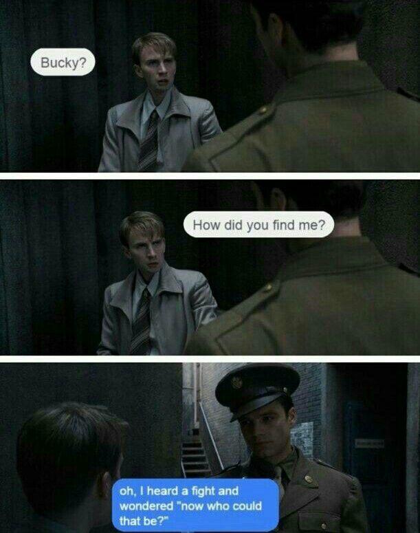 Lol. How Bucky found Steve. Pre serum Steve is hilarious