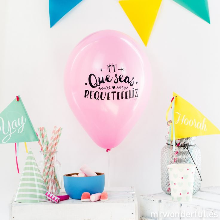 Globos para cumpleaños molones. Los globos gustan a pequeños y mayores y por eso hemos diseñado estos globos de colores para todas las celebraciones. #mrwonderfulshop #balloons #party #birthday #happy #event