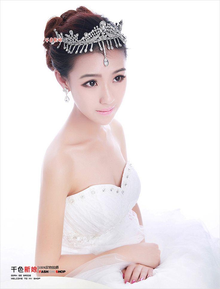 Allure Bridal diamond tassel snow Korean Crown Princess large amount of jewelry tiara wedding hair accessories wedding dress