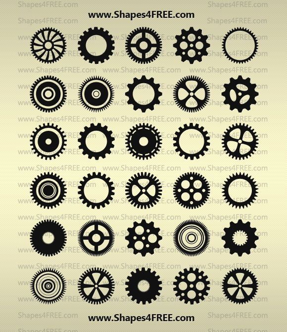 90 Photoshop Gears Shapes - Preview 3
