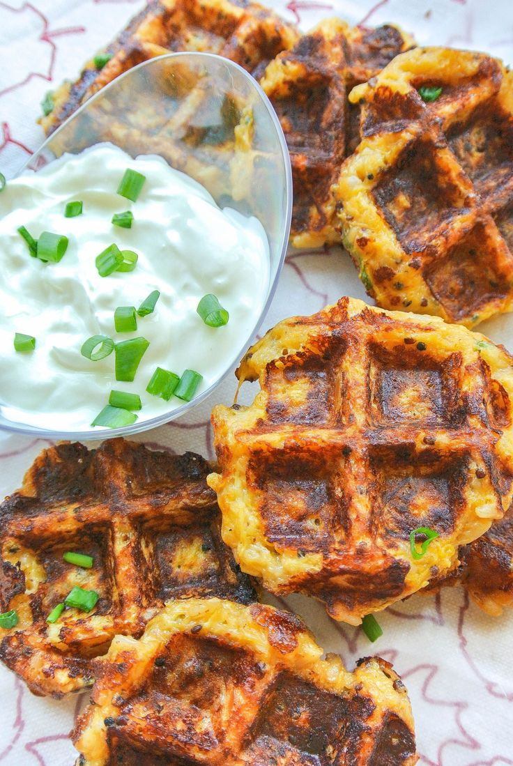 {spaghetti squash + quinoa fritters} these fritters are crisped up in a waffle maker for a simple + quick snack everyone will love! _