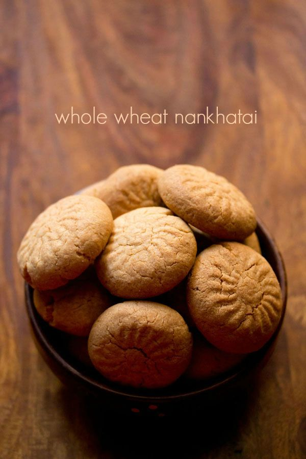 whole wheat nankhatai recipe - easy method to make these indian shortbread cookies with atta or whole wheat flour. #indianfood #sweets.