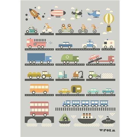 Køretøjer illustration af dyr i alverdens køretøjer.  Flot og dekorativ plakat til børneværelset.  Mål 50 x 70 cm
