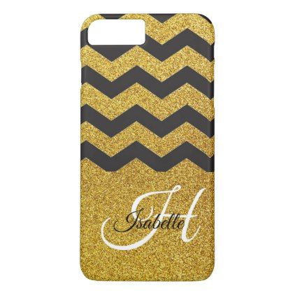 Glam Gold Glitter Chevron iPhone 8/7 Plus Case - typography gifts unique custom diy