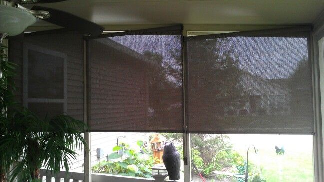 Screen shades installed in sun room in romeoville il for Screen porch window treatments