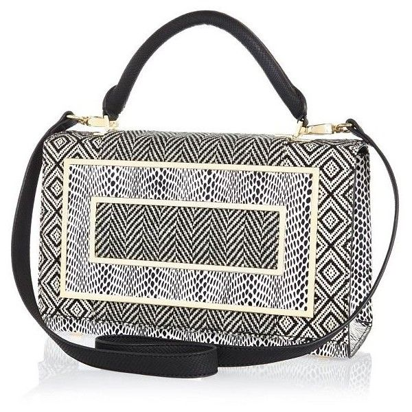 River Island Black mixed print structured satchel (£20) ❤ liked on Polyvore featuring bags, handbags, sale, print handbags, flap handbags, pattern purse, flap satchel handbag and satchel style purse