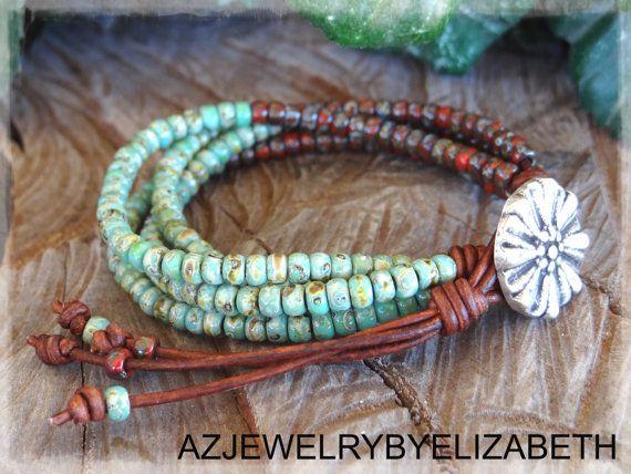 Seed Bead Bracelet Leather Bracelet Beaded by AZJEWELRYBYELIZABETH