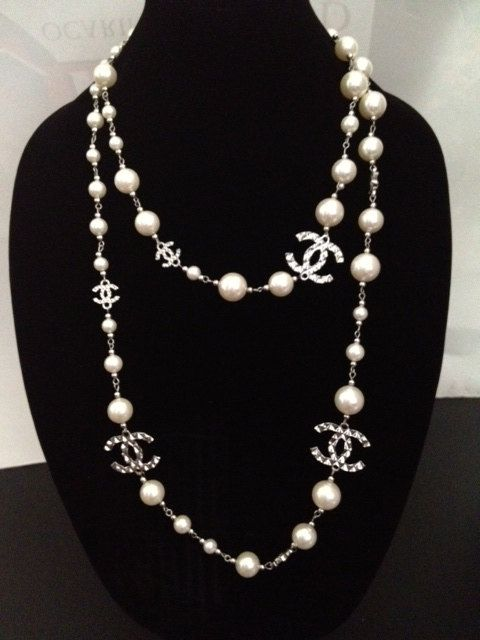 Vintage Designer Chanel Inspired Silver CC Long White Pearl Necklace, via Etsy.