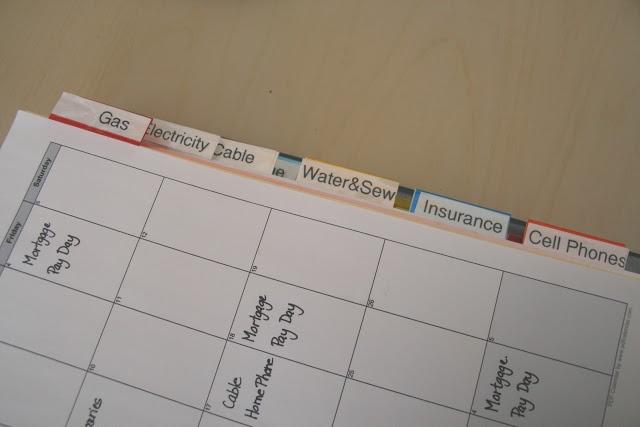 Organize monthly bills in a binder