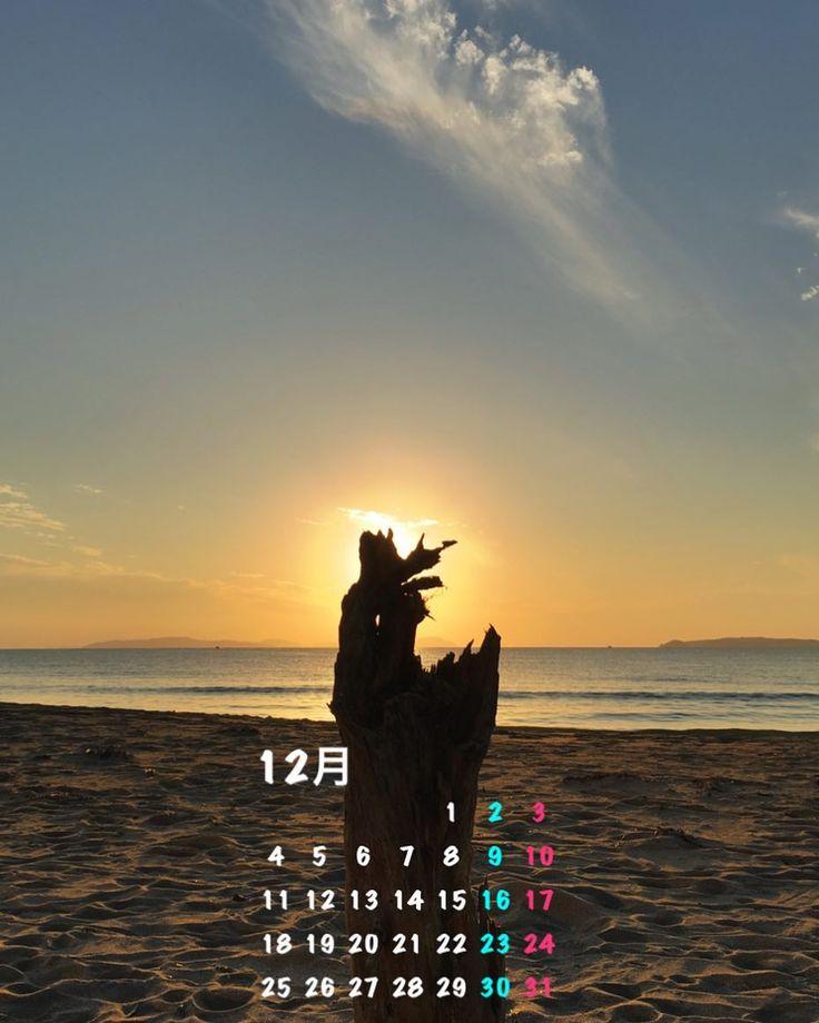 流木に沈む夕陽 Setting sun behind the driftwood  早いもので今年も残すところあとひと月ですね 12月のスマホ用壁紙カレンダーはこれです I can't believe that only one month left this year.  And this is my smartphone wallpaper calendar for December.  #流木 #夕陽 #海 #空 #雲 #ビーチ #島影 #12月 #カレンダー #壁紙 #driftwood #sunset #sea #sky #cloud #beach #islands #december #calendar #wallpaper  #のーまる部 #のーまるの日は月末とお一日