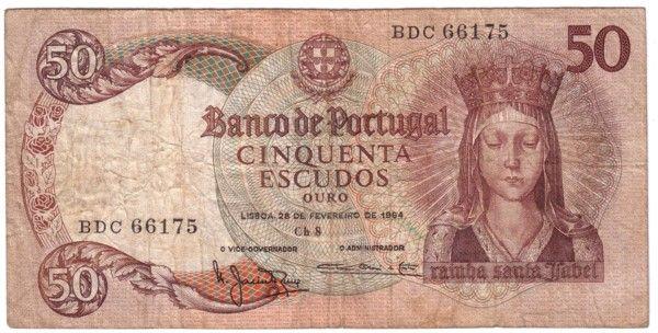 portuguese money | Banco De Portugal Cinquenta Escudos 1964. $27.00