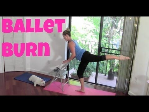 Full Length Barre Workout: Ballet Burn (cardio ballet, barre burn, toning, sculpting, abs) - YouTube No shoes required apparently, but need light weights. 52 min.