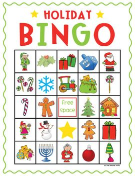 This Holiday Bingo Set is perfect for class parties or family gatherings! It comes with 4 different variations of the bingo board (to mix it up) an...