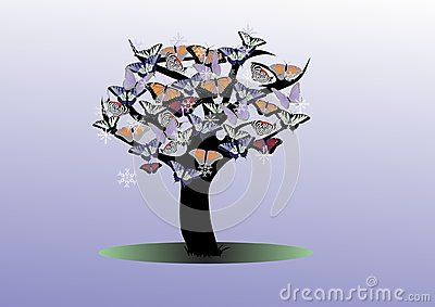 Winter tree with butterflies and blue background.