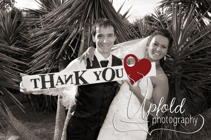 Such a fun way for the Bride and Groom to say Thank You to their guests. Image by Upfold Photography, Auckland, NZ www.upfoldphotography.co.nz. ~ wedding Thank You cards ~ Thank You signage for weddings ~ black, white and red wedding colours ~