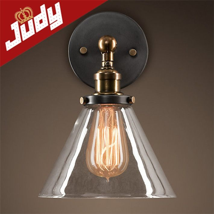 44.00$  Watch more here  - Judy Lighting-110-220v Vintage Industrial Lighting wall Lights E27 Country glass wall Lamps Edison Light Fixtures