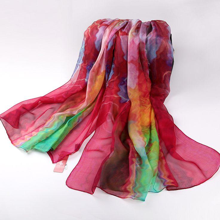 New Spring Autumn Ladies Pure Silk Scarf Winter Accessories Long Design Pink Scarves Wraps Women Digital Injket Sunshade Shawl